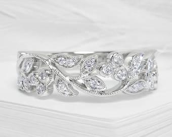 Vine and leaf white gold diamond ring - Filigree diamond ring, Diamond band, White gold ring, Diamond gold band, Wedding band, Vine ring
