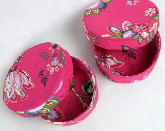 Jewelry box round fabric - pink with flowers
