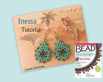 Inessa. Czech Twin Beadwork Earrings PDF Tutorial