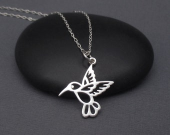 Hummingbird Necklace Sterling Silver 925 Small Hummingbird Pendant Charm