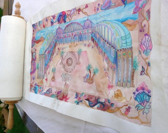 Judaica- purim- Meguilat Esther Illustration on parchment : add an illustrated piece of parchment to your own Esther Scroll
