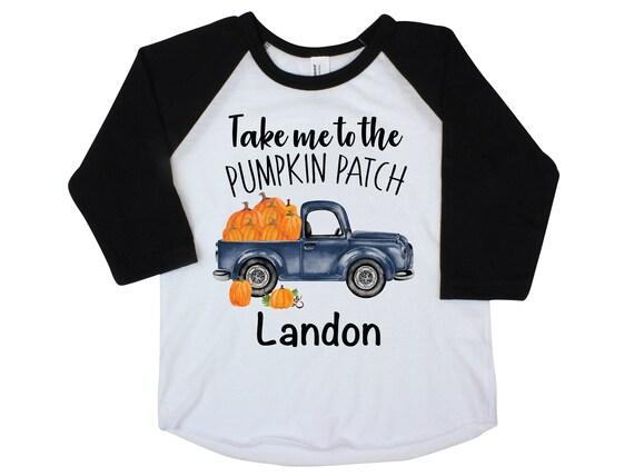 Boy Pumpkin Patch Shirt Personalized Raglan Fall Boy Shirt Pumpkin Patch Shirt Halloween Shirt Boy Truck Shirt Old Blue Truck Shirt Fall