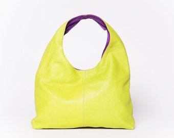 COLLECTION ETE/ Sac à main Moon/ cuir pleine fleur/ format moyen  / citron vert  # 52/  poupre léger (violet)# 37
