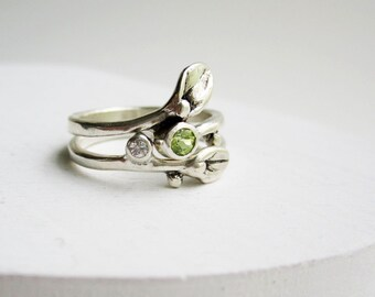 Leaf Ring, Set of 2 Rings, Small Leaf Silver Rings with Peridot and White sapphire, Nature Jewelry