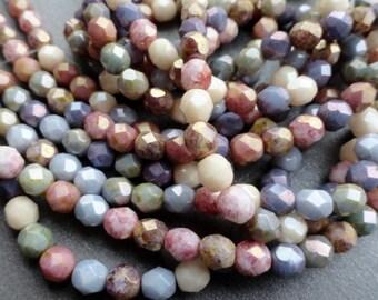 6mm Fire Polished Luster Mix - Czech Glass Beads - Pastel Mix - Bead Soup Beads