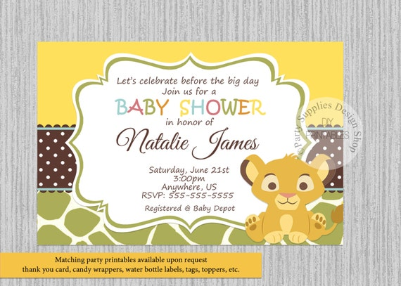 Simba lion king baby shower invitations simba baby shower filmwisefo Choice Image