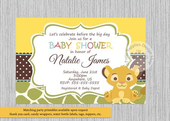 Perfect Simba Lion King Baby Shower Invitations Simba Baby Shower