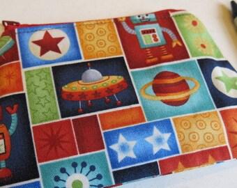 Space coin purse, robot coin purse, robot pouch, kids purse, child's purse, rocket purse