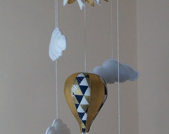 Hot air balloon baby mobile Gold with Navy or Black with bunting