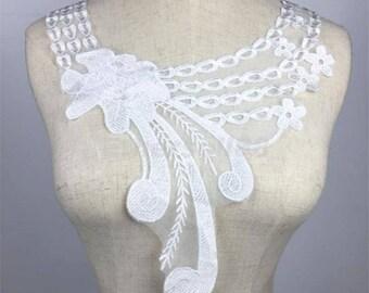 x 1 collar lace applique coloured floral MA9