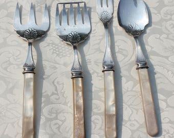 Burl Ives Personal Estate Set of Four Antique Silver Utensils  MOP Handles