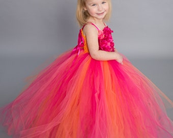 Flower girl dress - tutu dress - tulle dress -Infant/Toddler - Pageant dress - wedding - Princess dress - Coral Shades flower dress- Floral