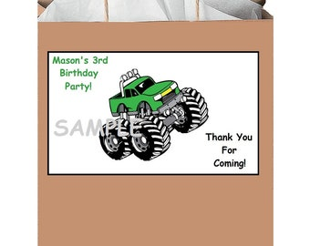 18 personalized truck party stickers,favors,birthday,bag box labels,tags,supplies,monster,Custom Made