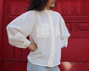 Oversized cream blouse