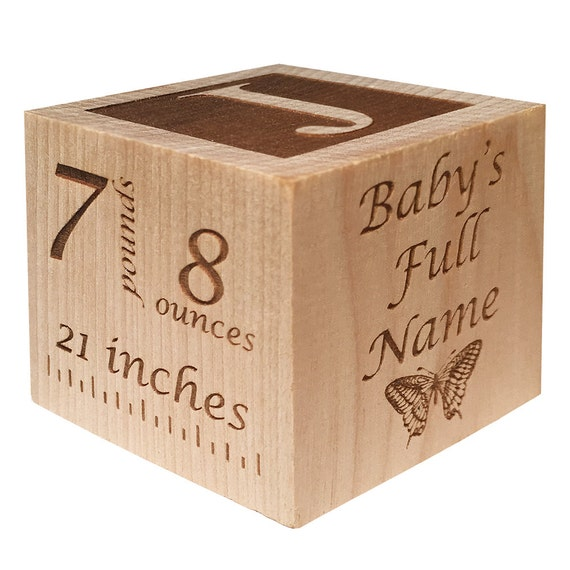 baby block with birth info