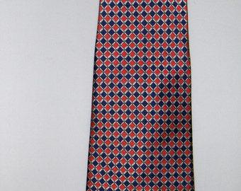 GOLD CITY vintage pure silk tie/ Handmade silk necktie / Men's accessories/ Blue and red checkered tie