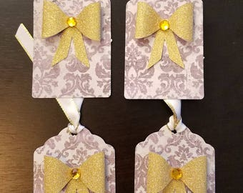 Gold 3D Gift Bow Design #2 with Yellow/Gold Gem Scallop Purple Damask Gift Tags Set of 4