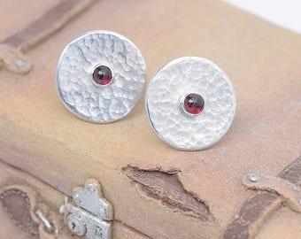 Garenet Earrings, Garnet Jewelry, Round Garnet Gemstone Stud Earrings, Silver Garnet Gem Earrings, January Birthstone Garnet Gems Jewellery