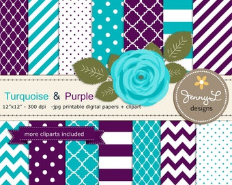 Turquoise and Purple Digital Paper, Turquiose Violet Rose Flower Clipart for Wedding, Bridal Baby Shower, Birthday, Digital Scrapbooking,