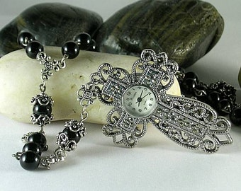 Black Onyx - Renaissance Rosary with Watch Cross 16th c. Psalter