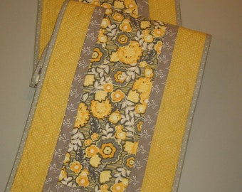 """Quilted Table Runner, Contemporary Gray Yellow Mustard Flowers, Dining Room, Coffee Table, Reversible 13 x 48"""" Modern Abstract Handmade"""