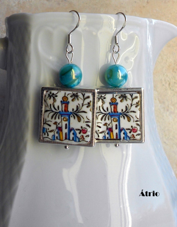 COIMBRA Portugal 17th Century  Pottery 925 SILVER FRAMED Earrings with Castle  Waterproof and Reversible Conimbriga Ceramicas de Coimbra
