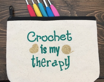 Crochet is my therapy zippered pouch