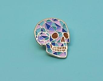 Skull enamel pin / Geometric / Crystal / Pastel colour / Human skull