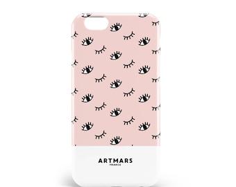 Hull Pink Eyes. PVC. iPhone 6s, 6s, 7, 7 more, 8, 8 more. Samsung S6, S6 Edge, S7, S7 Edge S8 + S8, illustration, design, en