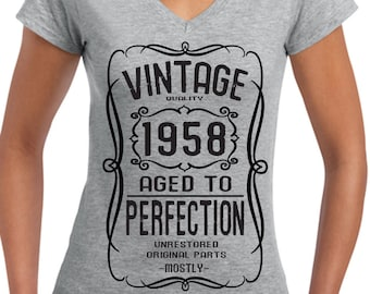 1958 60th Birthday Ladies V-neck T-shirts top tee Birthday gift party Tee Hand screen Printed to order