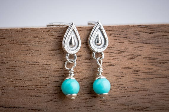 Bohemian Teardrop Earrings with Aqua Blue Mexican Turquoise - Tiny Sterling Silver Boho Post Stud Drop Earrings - Minimalist Indian Navajo