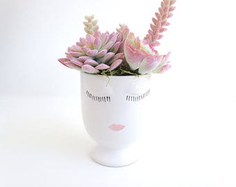 Succulent arrangement, Bridal shower gift, Face planter, head planter, face vase, Housewarming gift, bridesmaid, Birthday gift, flower vase