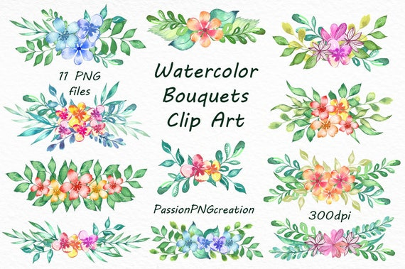 Watercolor Bouquets Clipart Transparent Background PNG