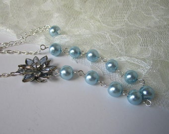 Pale Blue Bridesmaid Necklace Blue Flower Maid of Honor Bridal Party Gift