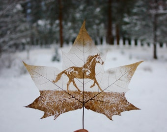 Horse Carving, Stallion Art, Wild Mustang, Horse Decor, Equestrian, Leaf Art, Nature Art, Recycled Material Art