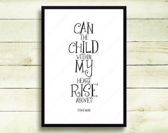 Stevie Nicks Fleetwood Mac Gift Typography Poster Print Landslide Song Lyrics Can The Child Within My Heart Rise Above Wall Art Decor 5066