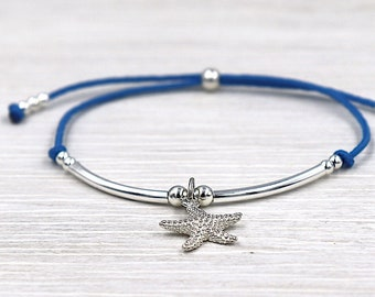 Koord armband ster van de zee en riet in zilver 925