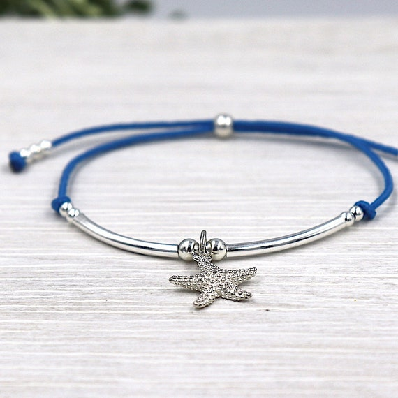 Starfish and rushes in 925 Sterling Silver Star bracelet cord