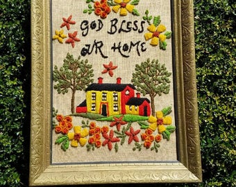 God bless our home crewel, vintage crewel, house crewel, house picture, god bless our home picture