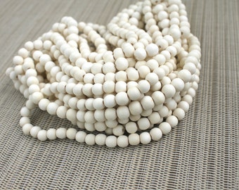 6mm Cream Ivory White Wood Beads - Bleached - 15 inch strand