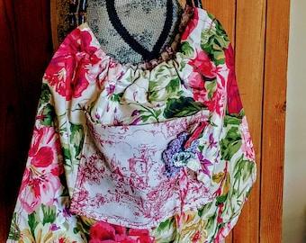 Bamboo ring handles, vintage fabrics, beautiful rhinestone crown button accent purse