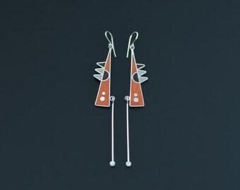 Sterling Silver Earrings, Geometric Earrings, Modern, Contemporary Jewelry, Tribal, Dangle, Orange, Color