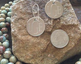 Silver Engraved Earrings-Engraved Earrings-Monogram Earrings-Disc