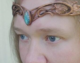 """Elven tiara """"Doriath"""", Elven crown leaves circlet, Medieval tiara, Headdress, Circlet Tiara, Bridal tiara, Tolkien jewelry, LotR elvish LARP"""