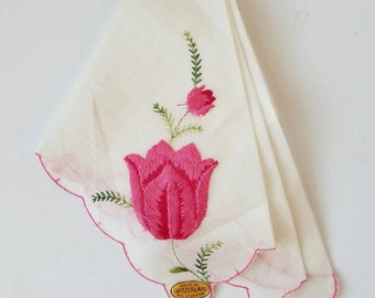 Vintage Handkerchief Made in Switzerland Embroidered Pink White Flowers Floral Stocking Stuffer Gift for Her