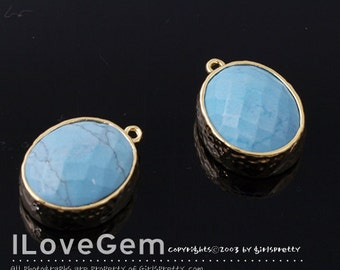B2721 Gold plated, Imitation Turquoise, Oval pendant, Glass pendant, Framed glass, Faceted glass charm, 2pcs