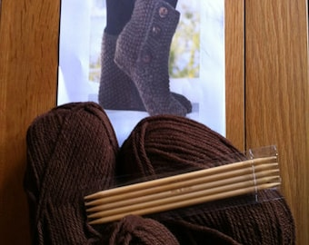 Knitting Kit - Knit a pair of Boot Slippers / Wool / Needles / Pattern - DARK BROWN