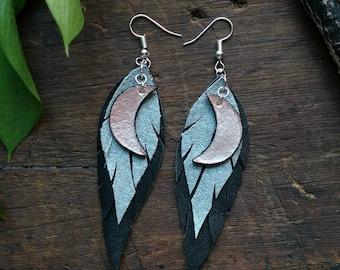 Recycled Lunar Leather Feather Earrings In Silver and Black  // Handmade // Witchy // Sustainable // Recycled // Boho // Free Spirit