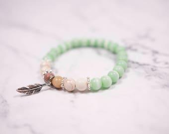 Bracelet elastic amazonite / cat eyes /howlite