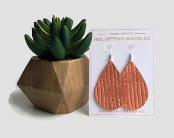 Leather Earrings, Salmon Basket Weave, Tear Drop Earrings, Joanna Gaines Inspired, Statement Earrings, Leather Earrings, Coral, Spring